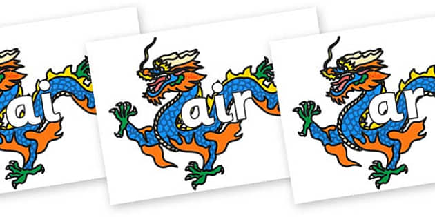 Phase 3 Phonemes on Chinese Dragons - Phonemes, phoneme, Phase 3, Phase three, Foundation, Literacy, Letters and Sounds, DfES, display