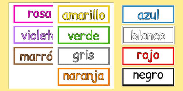 Colours Vocabulary Cards Spanish - spanish, colours, vocabulary, cards