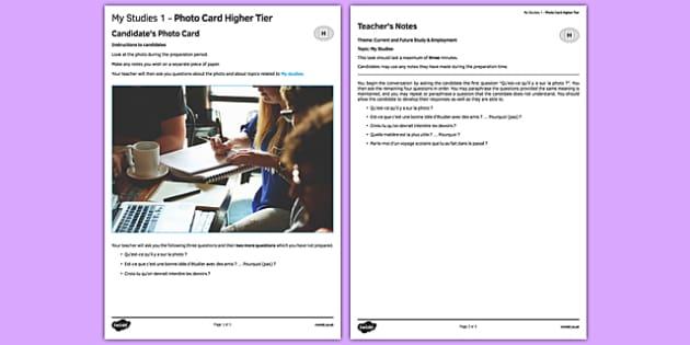 Mes études 1 Carte photo Higher Tier - Picture, Education, Studies, Subjects, School, College,french, francai, gcse, practice