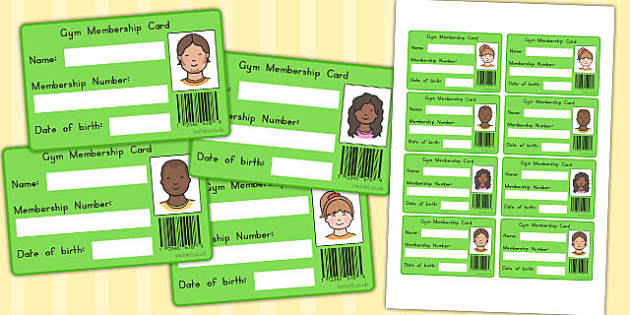 Gym Role Play Membership Card (Australia) - cards, gyms, member