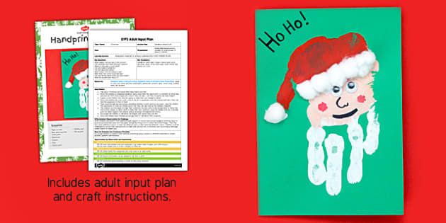 Handprint Santa EYFS Adult Input Plan and Craft Pack - handprint, santa, eyfs, adult, input, plan, craft, pack