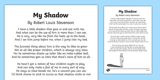 My Shadow by Robert Louis Stevenson Poem Print-Out