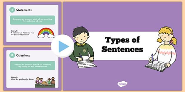 Types of Sentences PowerPoint - sentences, sentences powerpoint, types of sentences, different types of sentences, ks2 literacy powerpoint, ks2 literacy
