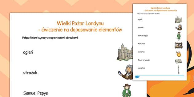 Ćwiczenie na dopasowanie elementów Wielki pożar Londynu po polsku , Polish