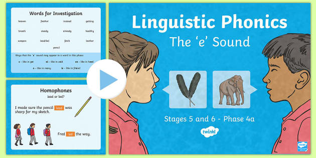 Northern Ireland Literacy Linguistic Phonics Stage 5 and 6 Phase 4a PowerPoint - Linguistic Phonics, Stage 5, Stage 6, Phase 4a, Northern Ireland, 'e' sound, sound search, word