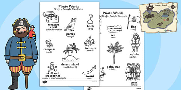 Pirate Words Colouring Sheets Romanian Translation - romanian