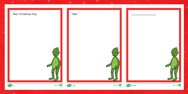 The Christmas Imp Letter Writing Frames - The Christmas Imp, the grinch, grinch, who stole christmas, christmas, green, imp, writing frames, l