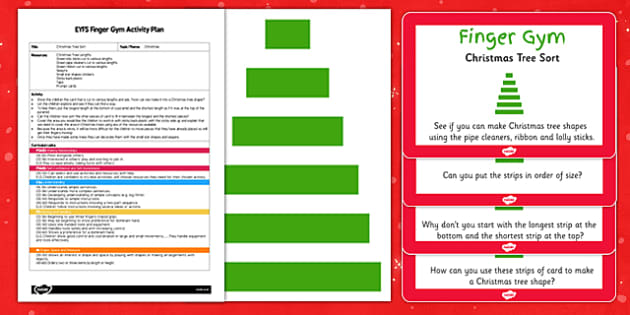 EYFS Christmas Tree Sort Finger Gym Plan and Resource Pack - finger gym, christmas, sorting, length, maths, eyfs, christmas tree, sort, finger, gym, plan, pack