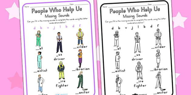 People Who Help Us Prep Missing Sounds Worksheet - sounds, sound