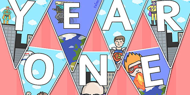 Welcome to Year One Bunting Superhero Themed - year one, welcome to year one, bunting, themed bunting, display bunting, bunting flags, flag bunting, cut outs