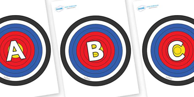 A-Z Alphabet on Plain Targets - A-Z, A4, display, Alphabet frieze, Display letters, Letter posters, A-Z letters, Alphabet flashcards