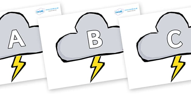A-Z Alphabet on Weather Symbols (Stormy) - A-Z, A4, display, Alphabet frieze, Display letters, Letter posters, A-Z letters, Alphabet flashcards