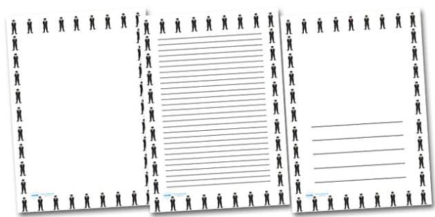Gestapo Officer Portrait Page Borders- Portrait Page Borders - Page border, border, writing template, writing aid, writing frame, a4 border, template, templates, landscape