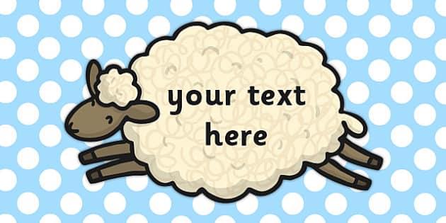 Editable Sheep Sign - editable, sheep, sign, animals, farm, signs