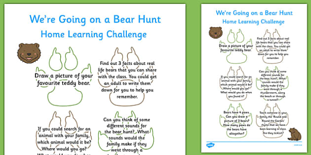 Home Learning Challenge Sheet to Support Teaching on Bear Hunt Reception FS2