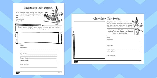Chocolate Bar Design Task to Support Teaching on Charlie and the Chocolate Factory - australia