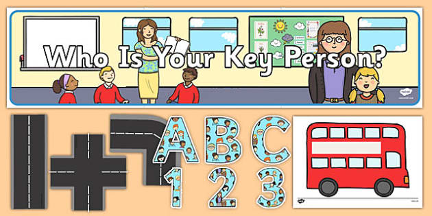 Key Person Display Pack Bus Themed - EYFS, Early Years, Key worker, groups
