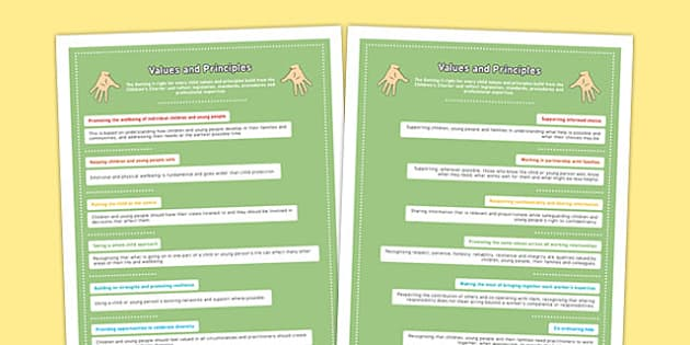 GIRFEC Values and Principles Posters - values, principles, display, girfec, getting it right for every child