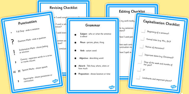 SPaG Writing Checklists - spag, writing, checklist, SPaG, write