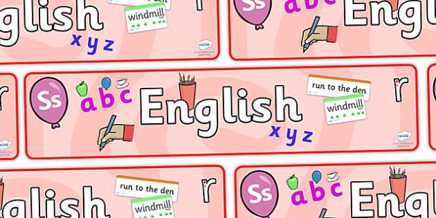 'English' Display Banner - Classroom Area Signs, English sign, Literacy, KS1, Banner, Foundation Stage Area Signs, Classroom labels, Area labels, Area Signs, Classroom Areas, Poster, Display, Areas, Literacy, Writing, CLL