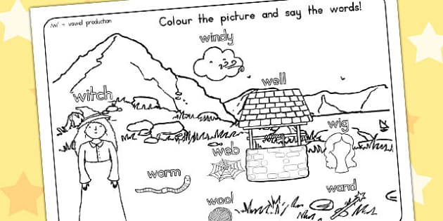 Word Initial 'w' Production Colouring Scene - australia, initial, s, colouring, scene