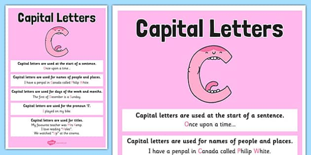 Capital Letter Poster - grammar, spag, gaps, punctuation, ks2, key stage 2, english, display, explanation,