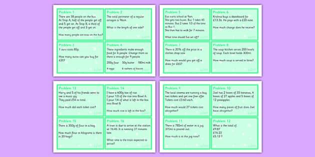Maths Problem Cards Year 5 - maths, problem, cards, maths problem, numeracy, year 5, ks2
