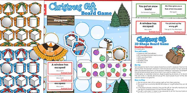 3D Shape Christmas Board Game - 3d, shape, board game, christmas