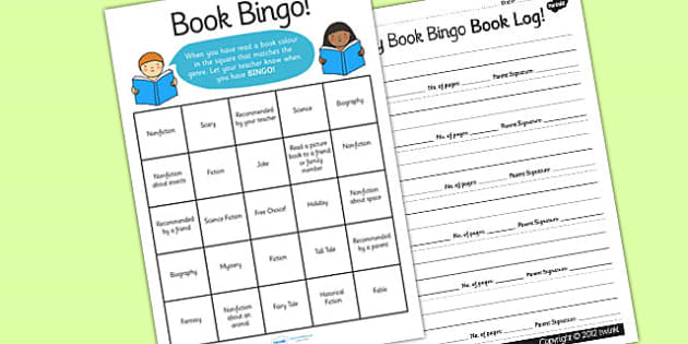 Book Bingo Worksheet - book bingo, bingo, lotto, worksheet