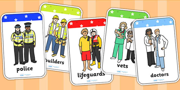 People Who Help Us Flashcards - flash card, word card, visual aid