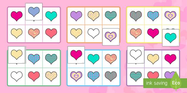 Hearts Bingo - Valentine's Day,  Feb 14th, love, cupid, hearts, valentine,