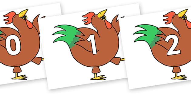 Numbers 0-50 on Hullabaloo Rooster to Support Teaching on Farmyard Hullabaloo - 0-50, foundation stage numeracy, Number recognition, Number flashcards, counting, number frieze, Display numbers, number posters
