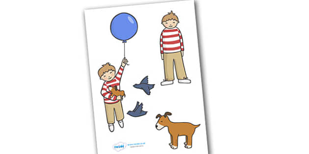 Stick Puppets to Support Teaching on The Blue Balloon - blue balloon, story, the blue balloon, Mick Inkpen, flying balloon, soggy balloon, up, story book, story resources
