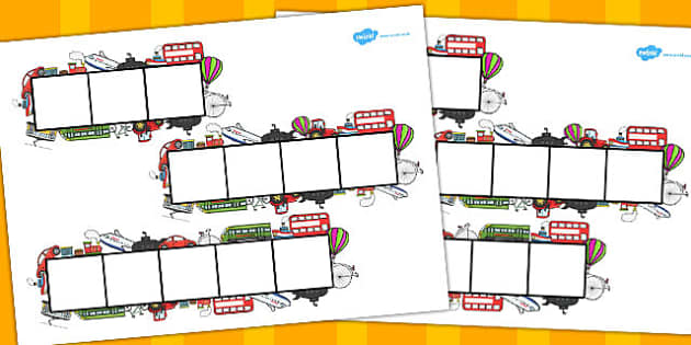 Transport Phoneme Frames - Phoneme Frames printable, transport, phoneme frame, phoneme, phonemes, Segmenting, DfES Letters and Sounds, Letters and sounds, KS1 Literacy, Phase one, Phase 1, Phase two, Phase 2, Phase three, Phase 3