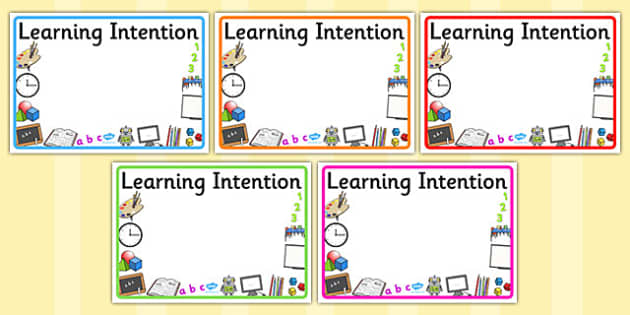 Editable Learning Intention Display Signs - display signs, editable