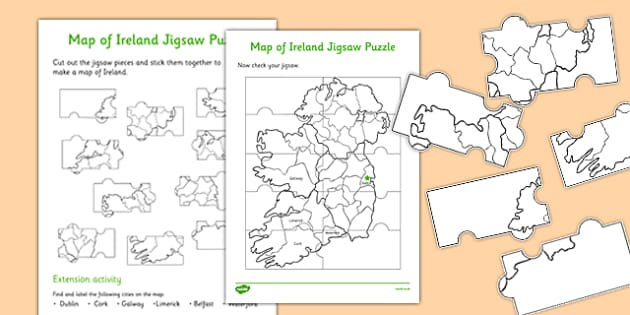 Map of Ireland Jigsaw Puzzle Difficult - roi, irish, republic of ireland, map, ireland, jigsaw, puzzle
