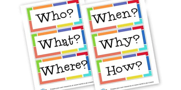 Questions Words Display - Question Words Primary Resources, question, interrogative, words