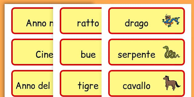 Chinese New Year Topic Word Cards - chinese new year, word cards - Italian