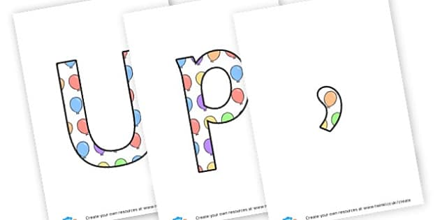 Up,up and away - Display Lettering Primary Resources, cut out, letters, display