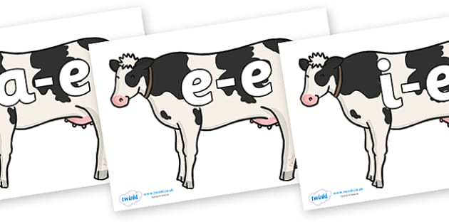 Modifying E Letters on Cows - Modifying E, letters, modify, Phase 5, Phase five, alternative spellings for phonemes, DfES letters and Sounds