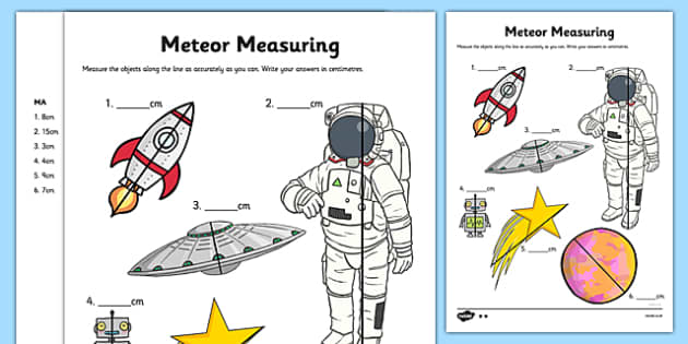 Meteor Measuring Activity Sheet - measure, measurement, sspace, astronaut, planets, spaceship, star, robot, ks1, cm, centimetres, ssm, worksheet