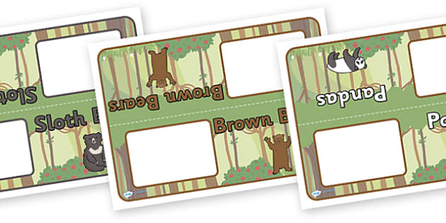 Editable Class Group Table Signs (Bears) - Bear, group signs, group labels, group table signs, table sign, teaching groups, class group, class groups, table label