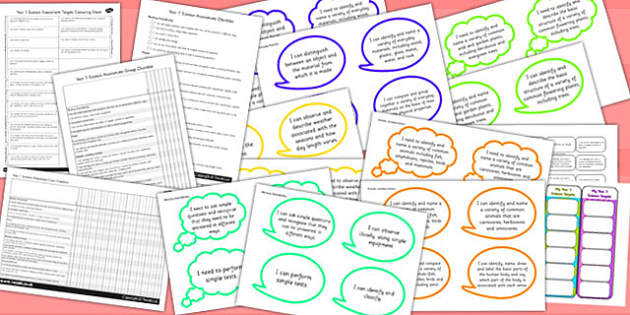 Year 1 2014 Curriculum Science Assessment Pack - targets, ks1