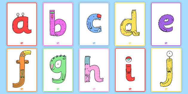 Lower-Case Monster Alphabet Display Posters - topic, fun, entertaining, letters, formation, working, wall,