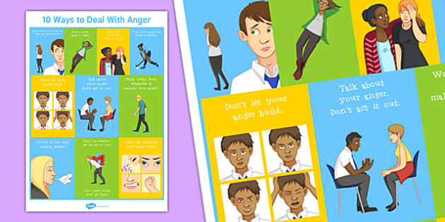 10 Ways to Deal With Anger Poster - deal, anger, poster, display