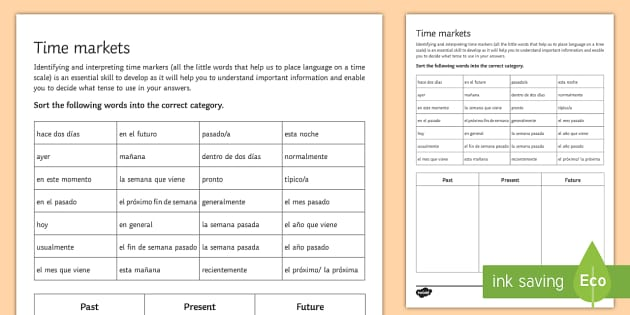 Identifying & Interpreting Spanish Time Markers Activity Sheet - Spanish Vocabulary, time markers, time expressions, past, future, present, sorting, activity, sheet