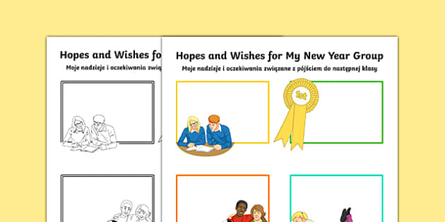 Hopes and My New Year Group Secondary SEN Activity Sheet Polish Translation - Transition Handover Sheets, primary, secondary, ks2, ks3, new year, end of year, Polish, translation, mfl, eal, SEN, worksheet