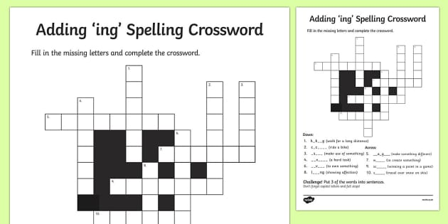 Adding ing Crossword - adding, ing, crossword, add, -ing, words