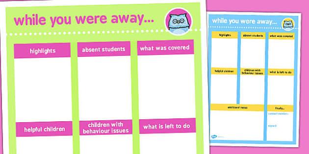 While You Were Away Supply Teacher Sheet - supply, teacher, sheet