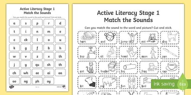CfE Active Literacy Stage 1 Sounds Activity Sheet, worksheet